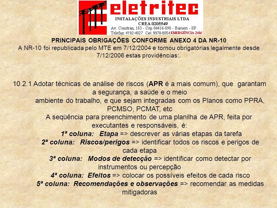 MEDIDAS DE PROTEÇÃO INDIVIDUAL a NR-10 Eletritec Instalações Industriais Ltda.
