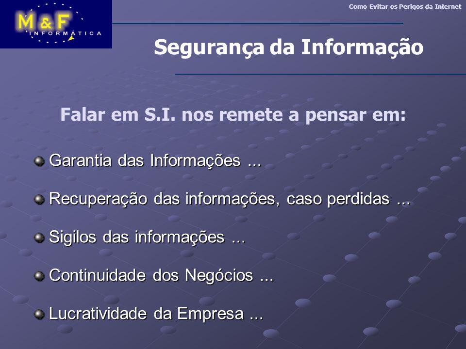 Falar em S.I. nos remete a pensar em: Garantia das Informações... Garantia das Informações... Recuperação das informações, caso perdidas... Recuperaçã