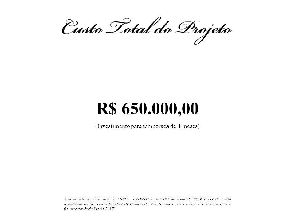 R$ 650.000,00 (Investimento para temporada de 4 meses) Este projeto foi aprovado no MINC - PRONAC nº 068983 no valor de R$ 916.599,20 e está tramitand