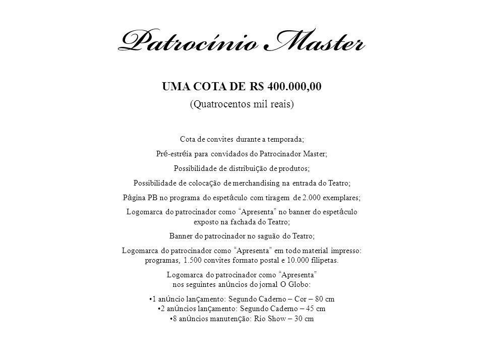 UMA COTA DE R$ 400.000,00 (Quatrocentos mil reais) Cota de convites durante a temporada; Pr é -estr é ia para convidados do Patrocinador Master; Possi