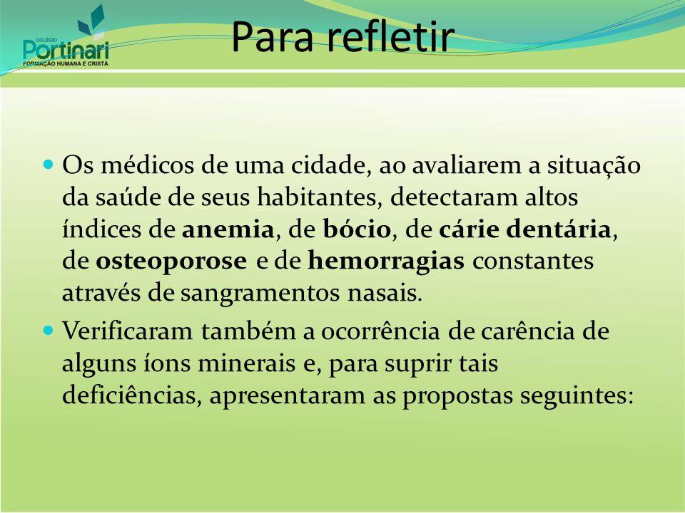 Para refletir Os médicos de uma cidade, ao avaliarem a situação da saúde de seus habitantes, detectaram altos índices de anemia, de bócio, de cárie de
