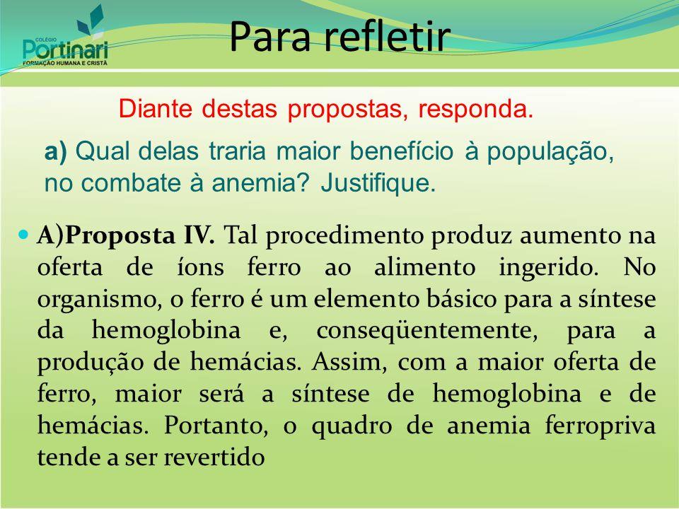 A)Proposta IV. Tal procedimento produz aumento na oferta de íons ferro ao alimento ingerido. No organismo, o ferro é um elemento básico para a síntese