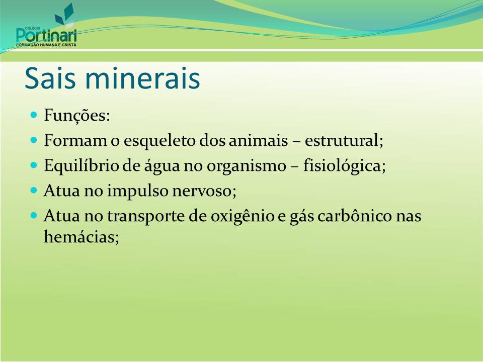 Sais minerais Funções: Formam o esqueleto dos animais – estrutural; Equilíbrio de água no organismo – fisiológica; Atua no impulso nervoso; Atua no tr