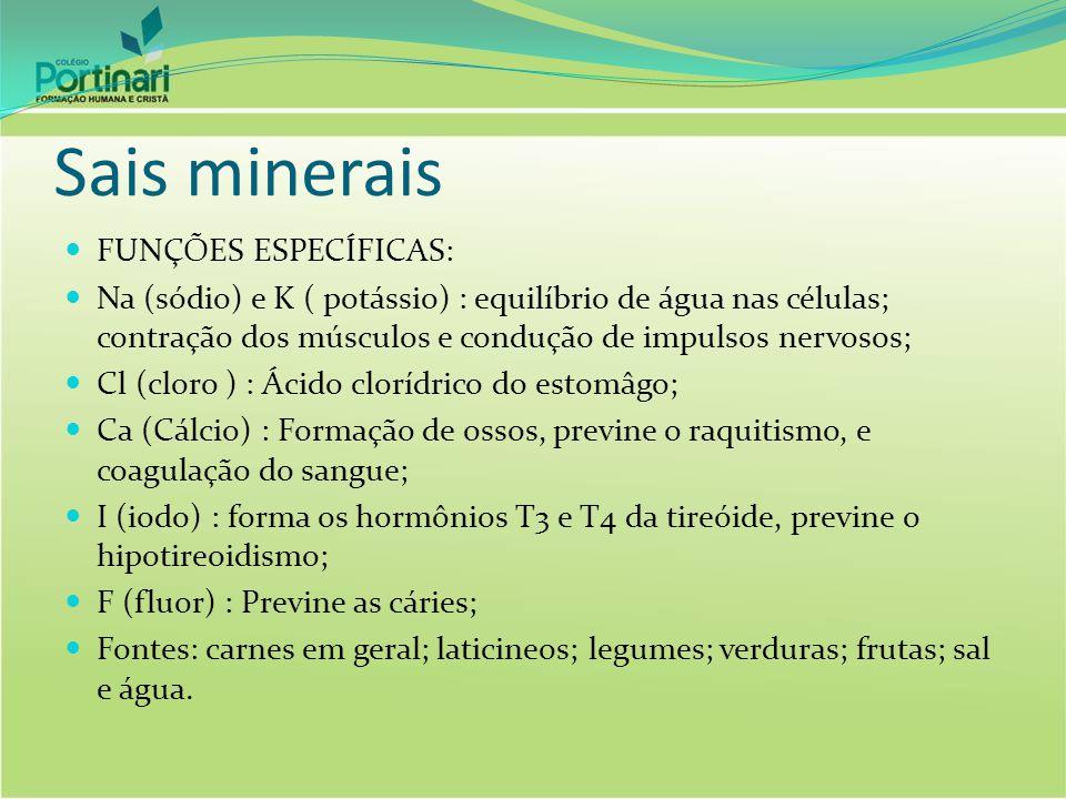 Sais minerais FUNÇÕES ESPECÍFICAS: Na (sódio) e K ( potássio) : equilíbrio de água nas células; contração dos músculos e condução de impulsos nervosos