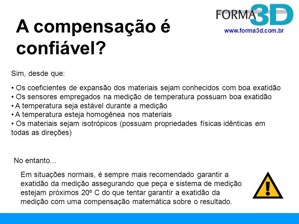 www.forma3d.com.br A compensação é confiável? Sim, desde que: Os coeficientes de expansão dos materiais sejam conhecidos com boa exatidão Os sensores