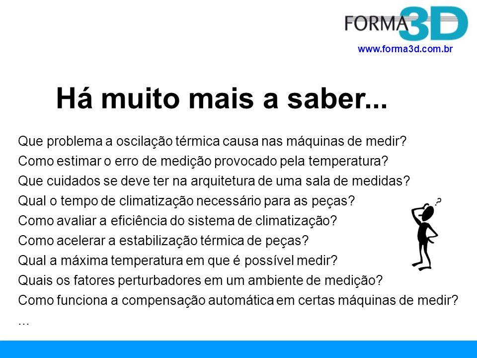 www.forma3d.com.br Há muito mais a saber... Que problema a oscilação térmica causa nas máquinas de medir? Como estimar o erro de medição provocado pel