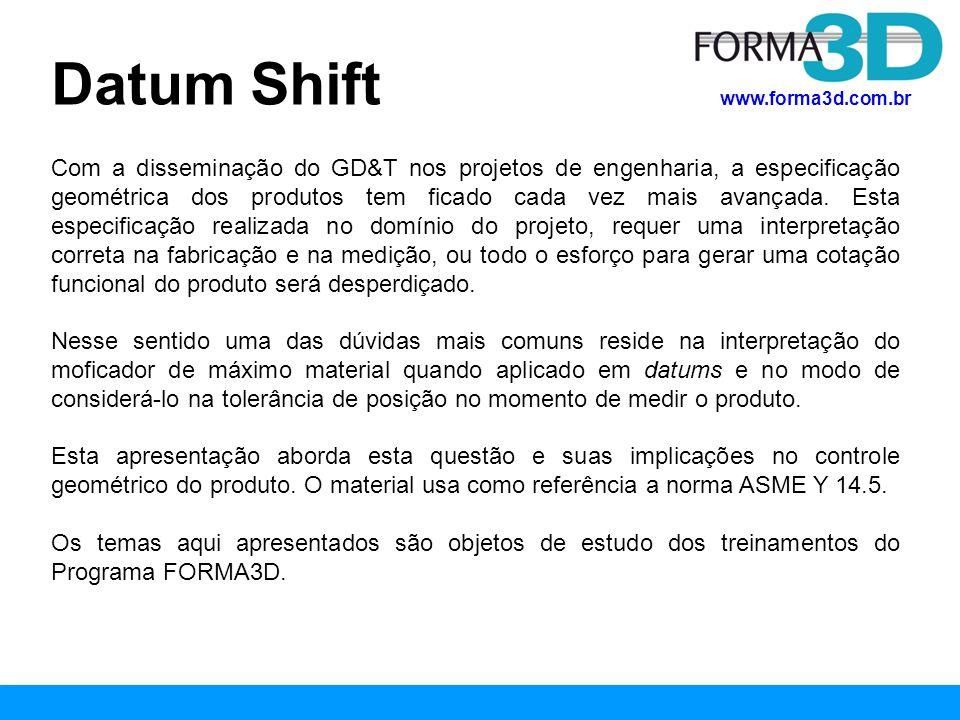 www.forma3d.com.br Com a disseminação do GD&T nos projetos de engenharia, a especificação geométrica dos produtos tem ficado cada vez mais avançada. E