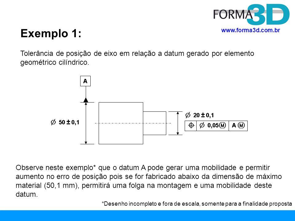 www.forma3d.com.br Exemplo 1: Observe que a mobilidade gerada pelo datum é circunferencial, assim como é a tolerância de posição (diametral).