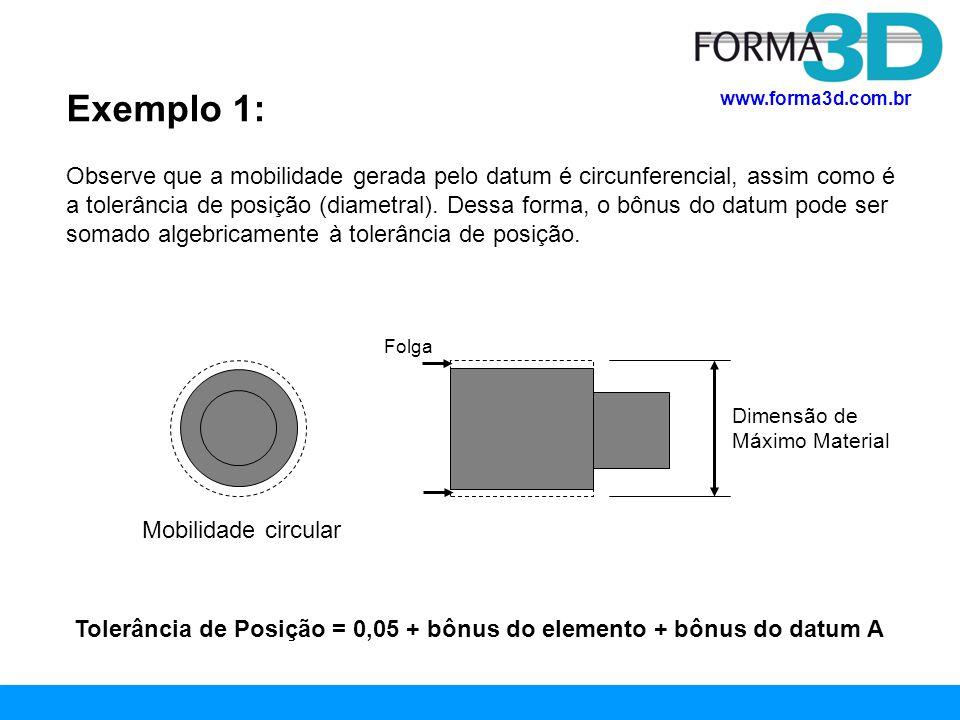 www.forma3d.com.br Exemplo 2: Tolerância de posição de eixo em relação a datums planares Observe neste exemplo* que o datum B é elemento FOS e pode, em tese, fornecer bônus à tolerância de posição pois se for fabricado abaixo da dimensão de máximo material (100,1 mm) permitirá uma folga na montagem e uma mobilidade deste datum B.