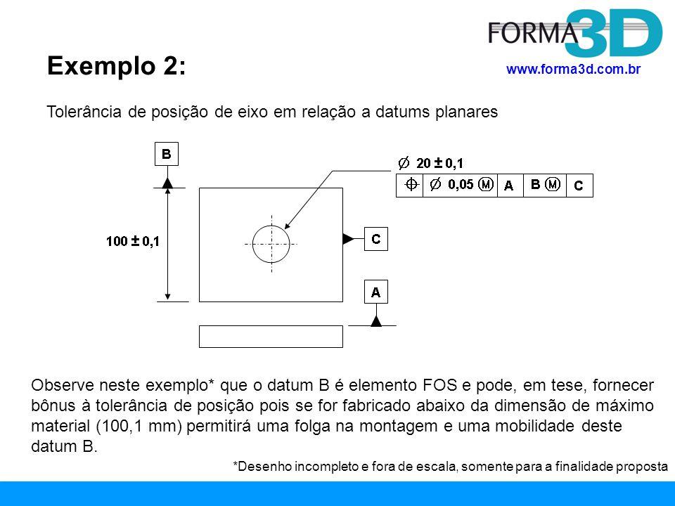 www.forma3d.com.br Exemplo 2: Tolerância de posição de eixo em relação a datums planares Observe neste exemplo* que o datum B é elemento FOS e pode, e