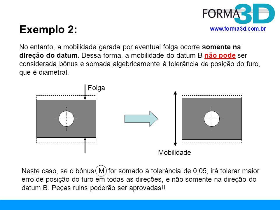 www.forma3d.com.br CONCLUSÃO A especificação de modificador M em datums deve ser bem analisada pois nem sempre isto gera bônus que pode ser somado algebricamente à tolerância de posição no momento da medição.