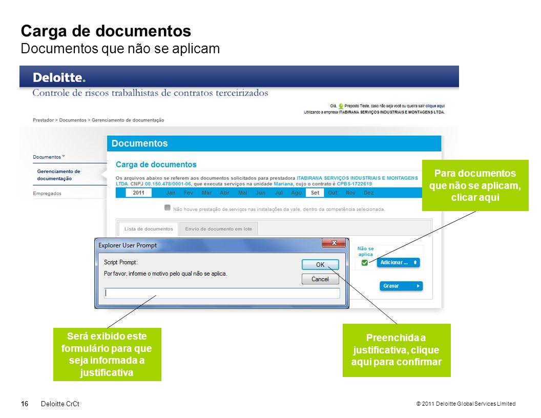© 2011 Deloitte Global Services Limited Carga de documentos Documentos que não se aplicam 16Deloitte CrCt Para documentos que não se aplicam, clicar a