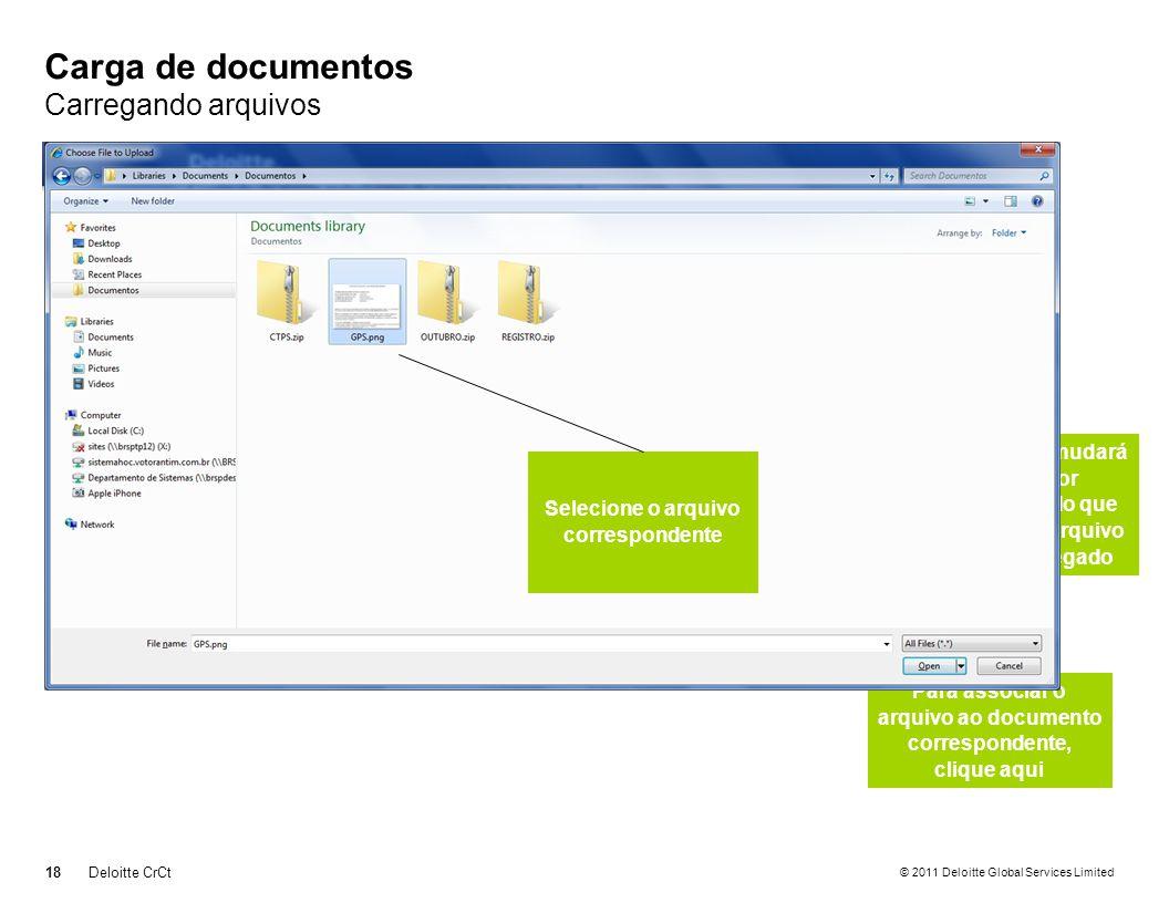 © 2011 Deloitte Global Services Limited Carga de documentos Carregando arquivos 18Deloitte CrCt Para carregar individualmente, clique aqui Para associ