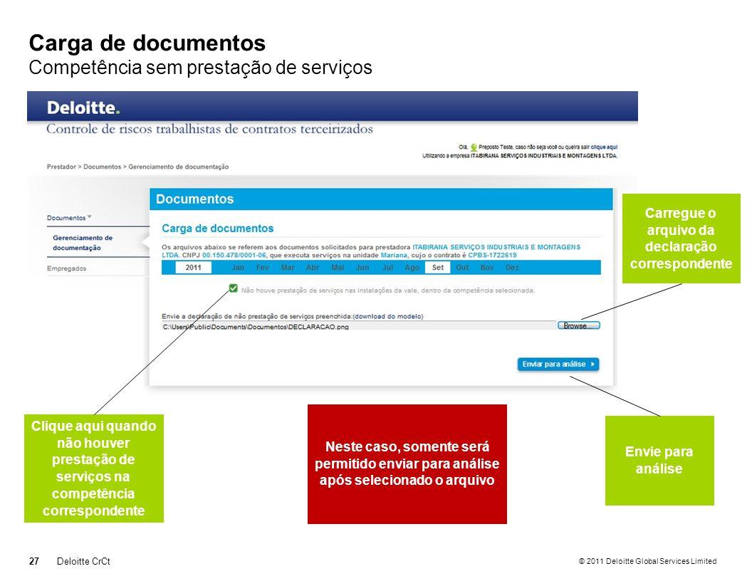 © 2011 Deloitte Global Services Limited Carga de documentos Competência sem prestação de serviços 27Deloitte CrCt Clique aqui quando não houver presta