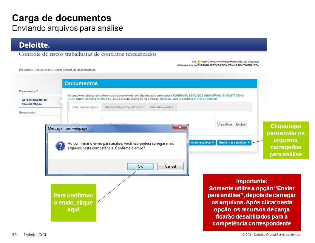 © 2011 Deloitte Global Services Limited Carga de documentos Enviando arquivos para análise 29Deloitte CrCt Clique aqui para enviar os arquivos carrega