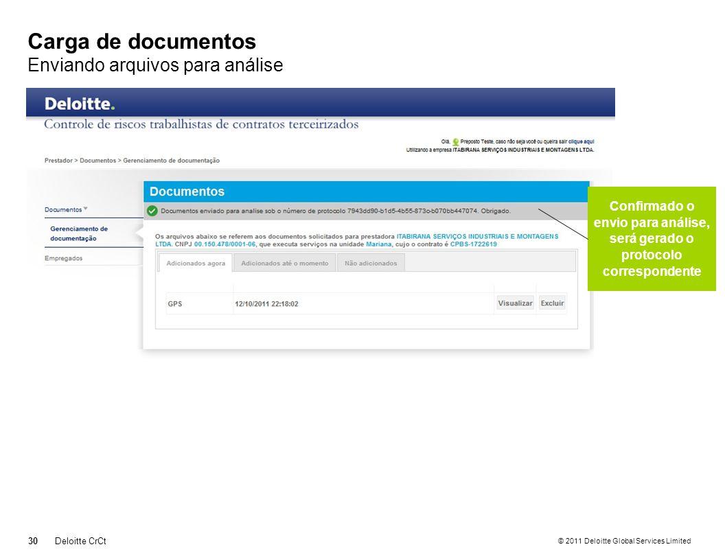 © 2011 Deloitte Global Services Limited Carga de documentos Enviando arquivos para análise 30Deloitte CrCt Confirmado o envio para análise, será gerad
