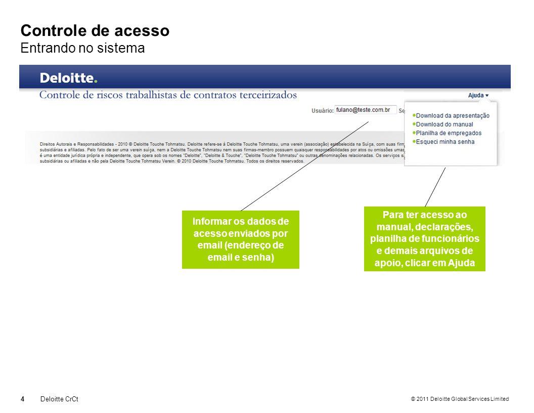 © 2011 Deloitte Global Services Limited Controle de acesso Entrando no sistema 4Deloitte CrCt Informar os dados de acesso enviados por email (endereço