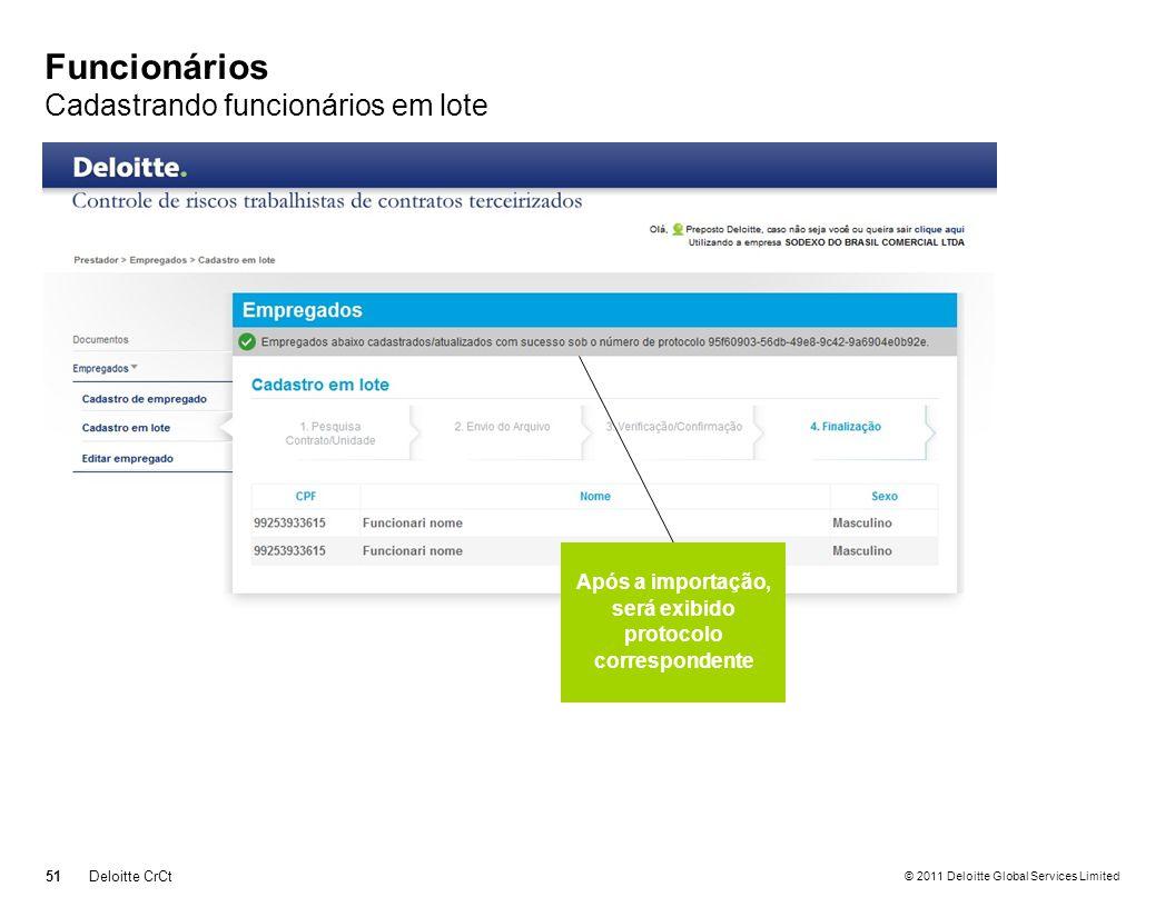 © 2011 Deloitte Global Services Limited Funcionários Cadastrando funcionários em lote 51Deloitte CrCt Após a importação, será exibido protocolo corres