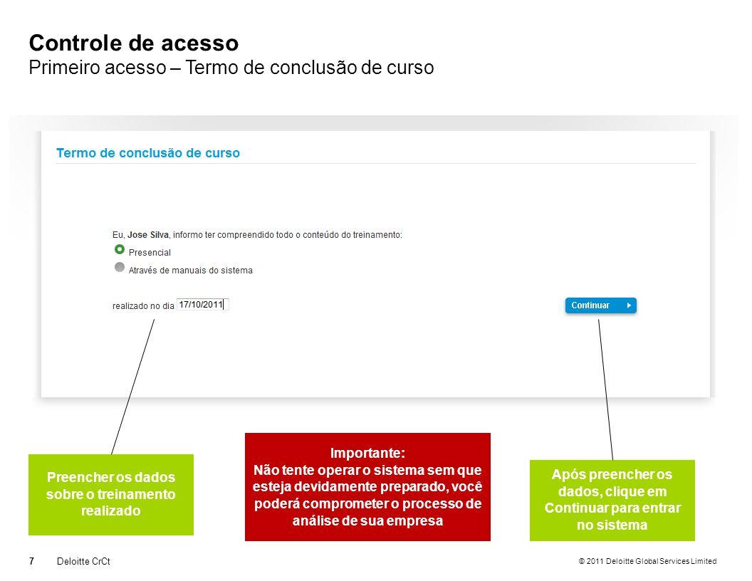 © 2011 Deloitte Global Services Limited Controle de acesso Primeiro acesso – Termo de conclusão de curso 7Deloitte CrCt Preencher os dados sobre o tre