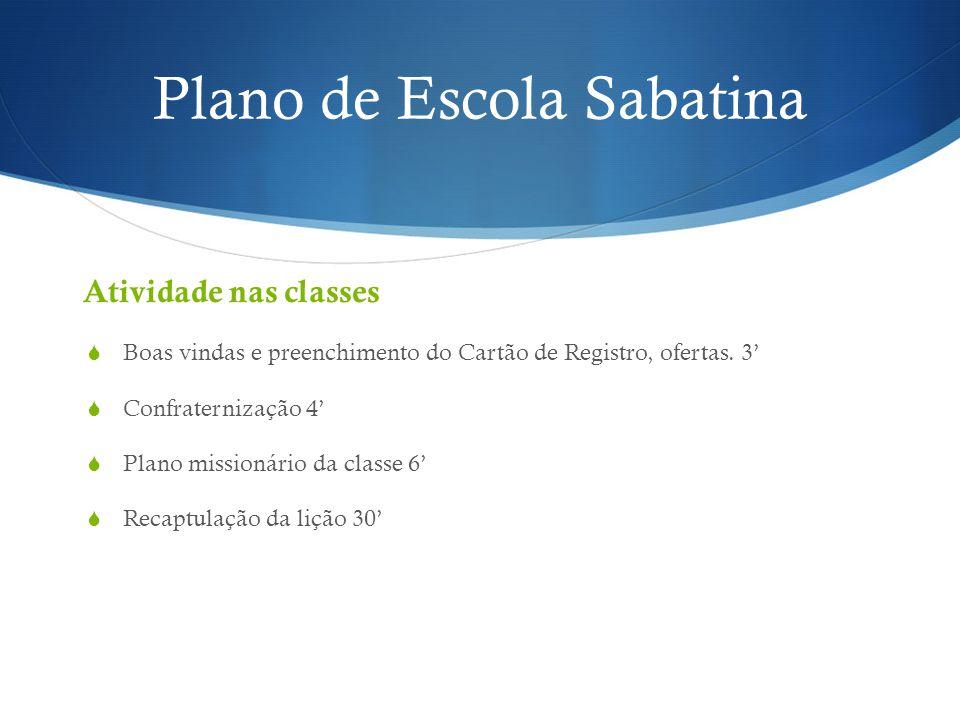 Plano de Escola Sabatina Atividade nas classes  Boas vindas e preenchimento do Cartão de Registro, ofertas. 3'  Confraternização 4'  Plano missioná