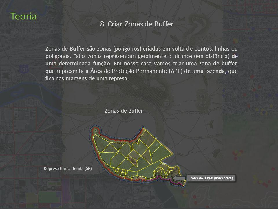 8. Criar Zonas de Buffer Teoria Zonas de Buffer são zonas (polígonos) criadas em volta de pontos, linhas ou polígonos. Estas zonas representam geralme