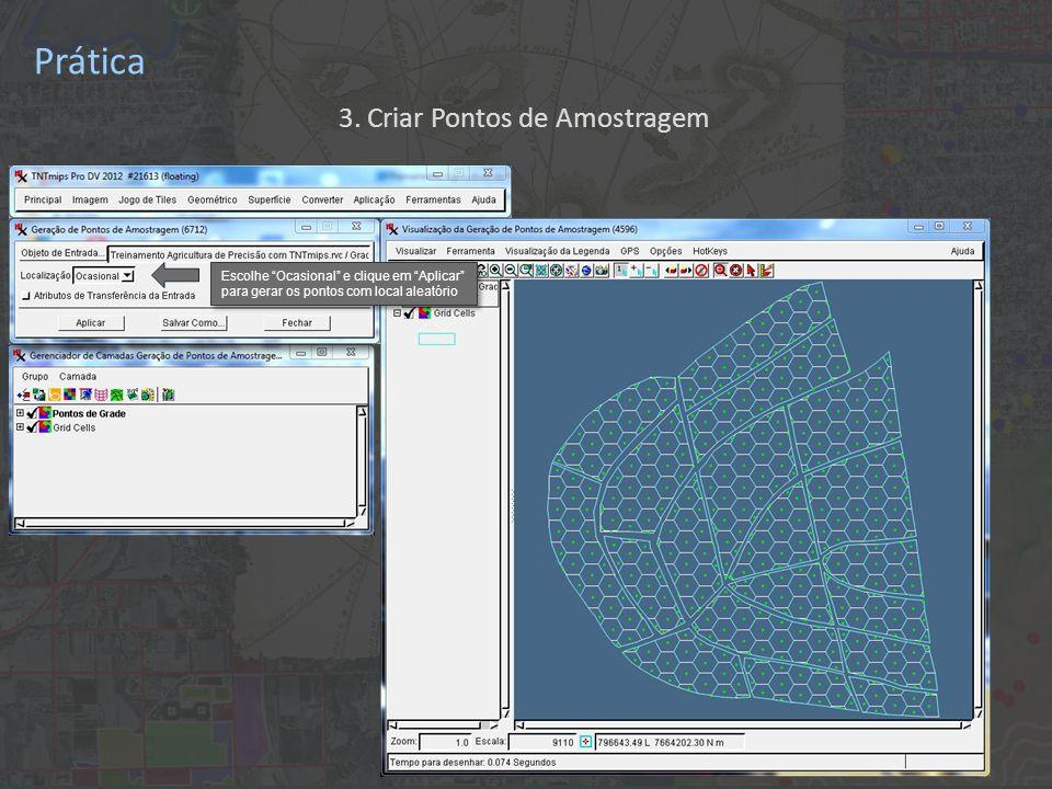Prática Escolhe Ocasional e clique em Aplicar para gerar os pontos com local aleatório 3.