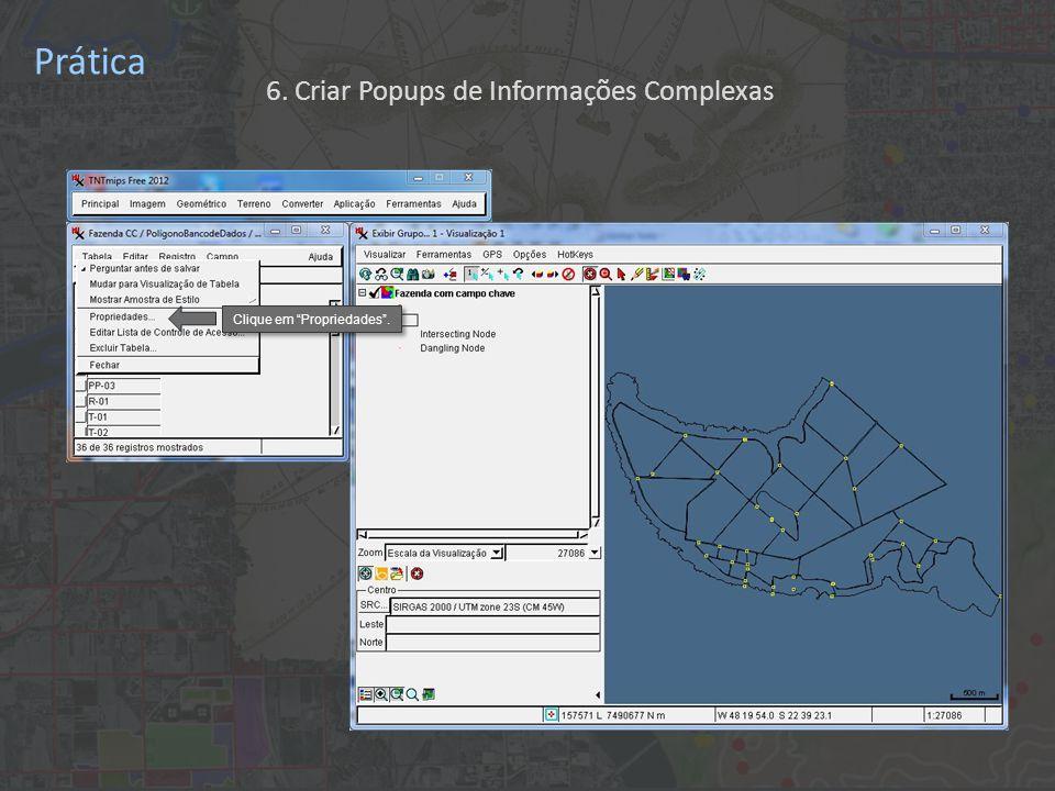 Prática Clique em Propriedades . 6. Criar Popups de Informações Complexas