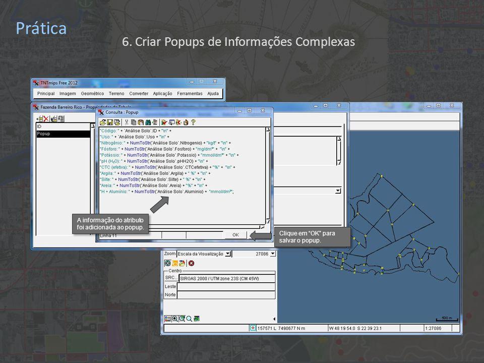 Prática A informação do atributo foi adicionada ao popup.