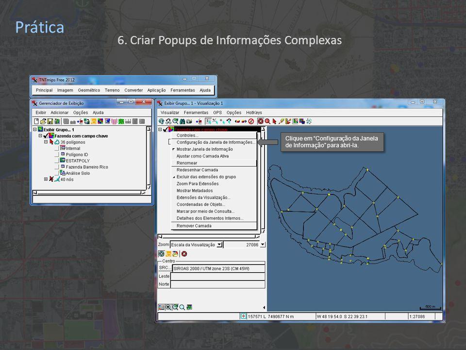 Prática Clique em Configuração da Janela de Informação para abri-la.