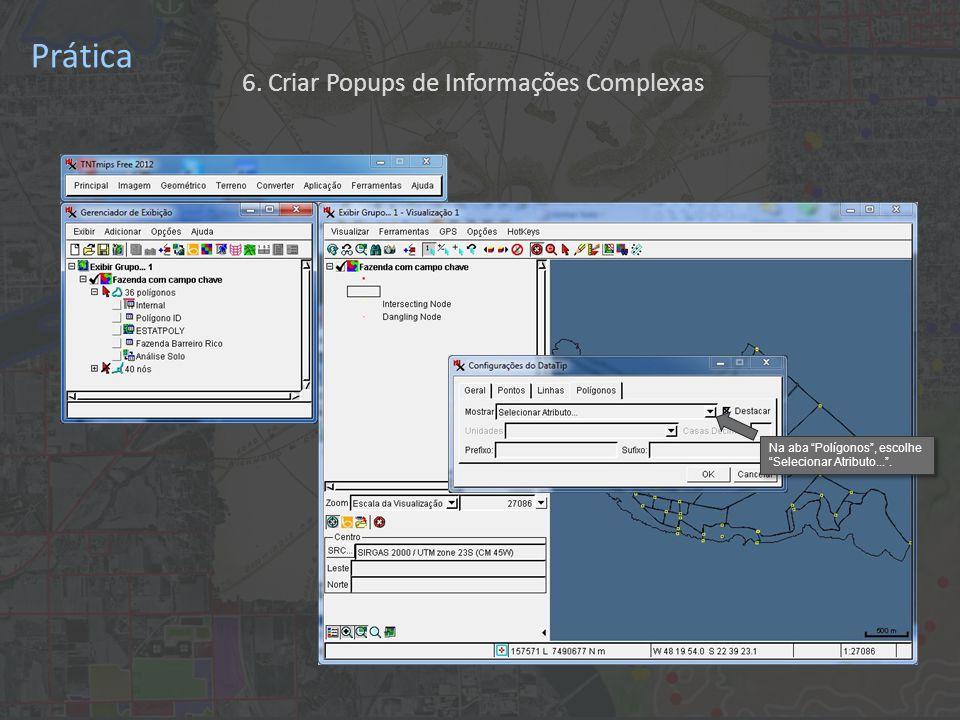 Prática Clique na flecha. 6. Criar Popups de Informações Complexas