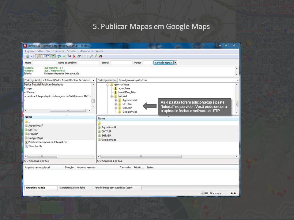 As 4 pastas foram adicionadas à pasta tutorial no servidor.