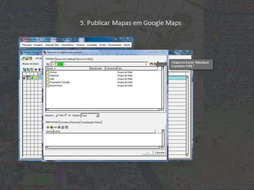 Clique no ícone Introduzir Caminho / URL . 5. Publicar Mapas em Google Maps