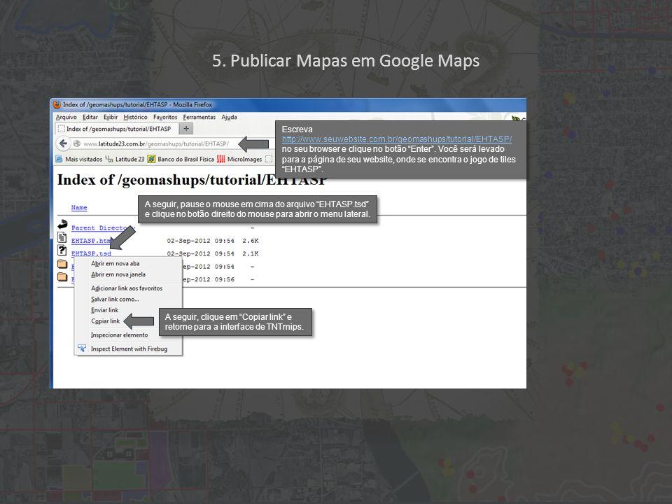Escreva http://www.seuwebsite.com.br/geomashups/tutorial/EHTASP/ no seu browser e clique no botão Enter .