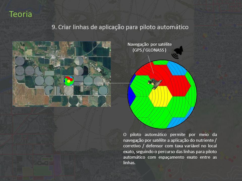 Teoria Navegação por satélite (GPS / GLONASS ) O piloto automático permite por meio da navegação por satélite a aplicação do nutriente / corretivo / defensor com taxa variável no local exato, seguindo o percurso das linhas para piloto automático com espaçamento exato entre as linhas.