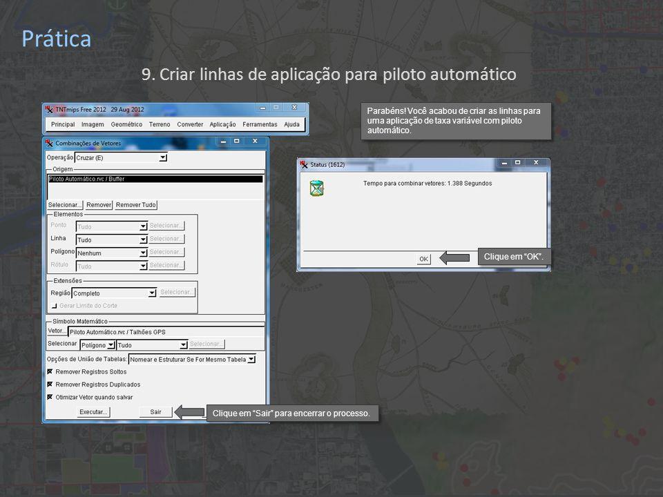 Prática 9. Criar linhas de aplicação para piloto automático Parabéns.