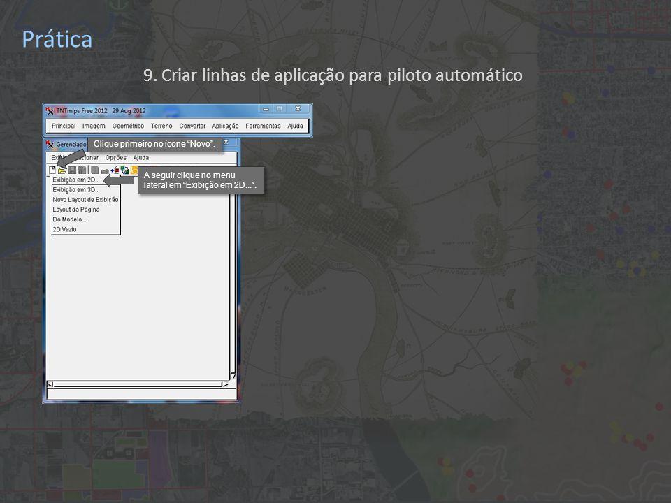 Prática 9. Criar linhas de aplicação para piloto automático Clique primeiro no ícone Novo .