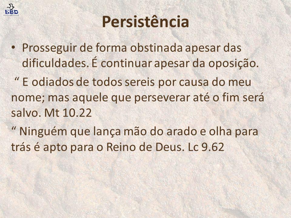 """Persistência Prosseguir de forma obstinada apesar das dificuldades. É continuar apesar da oposição. """" E odiados de todos sereis por causa do meu nome;"""