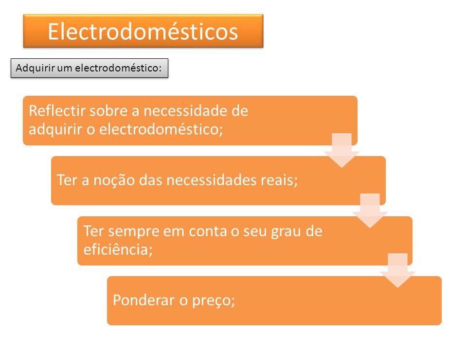 Electrodomésticos Reflectir sobre a necessidade de adquirir o electrodoméstico; Ter a noção das necessidades reais; Ter sempre em conta o seu grau de