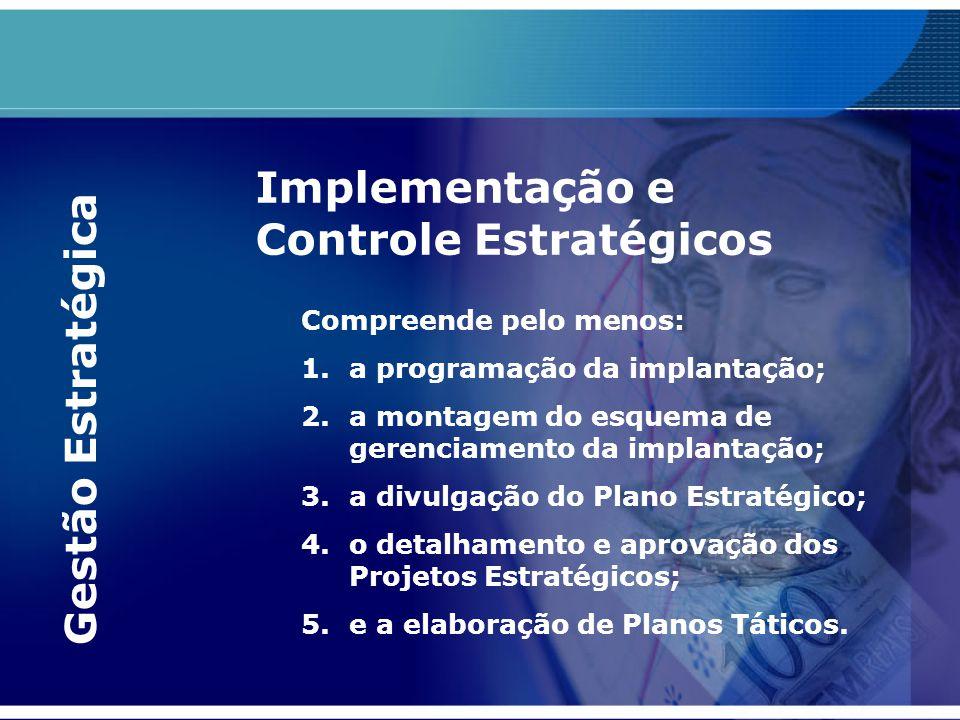 Compreende pelo menos: 1.a programação da implantação; 2.a montagem do esquema de gerenciamento da implantação; 3.a divulgação do Plano Estratégico; 4
