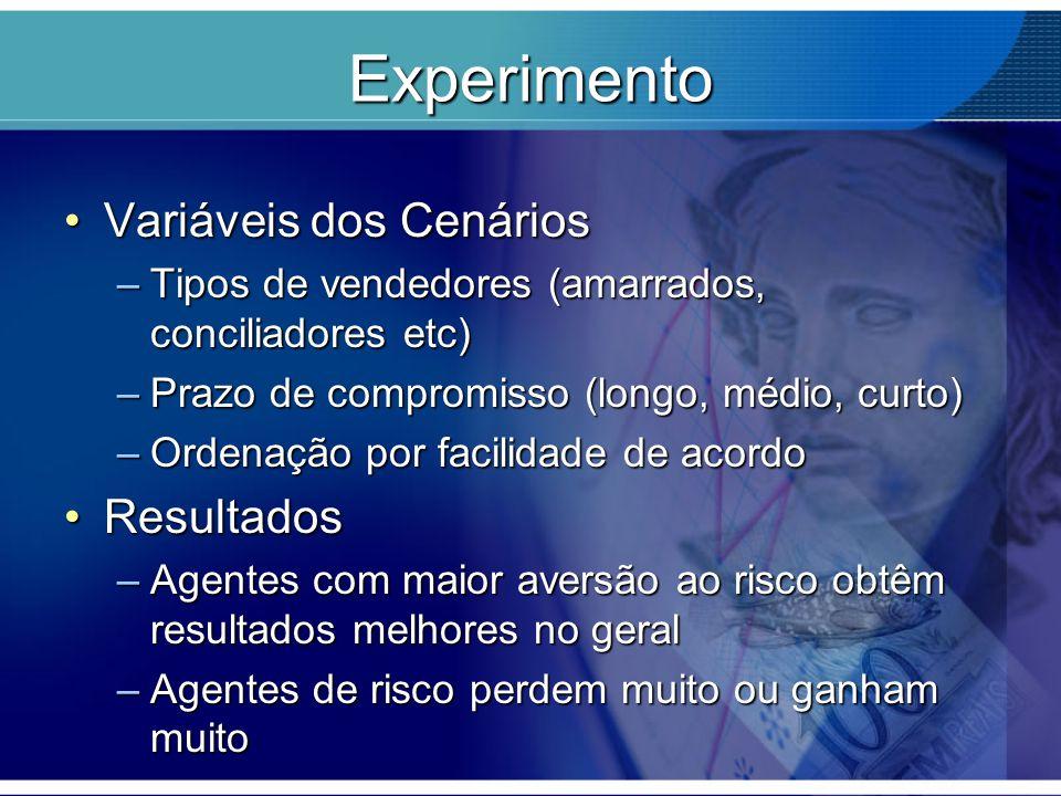 Experimento Variáveis dos CenáriosVariáveis dos Cenários –Tipos de vendedores (amarrados, conciliadores etc) –Prazo de compromisso (longo, médio, curt