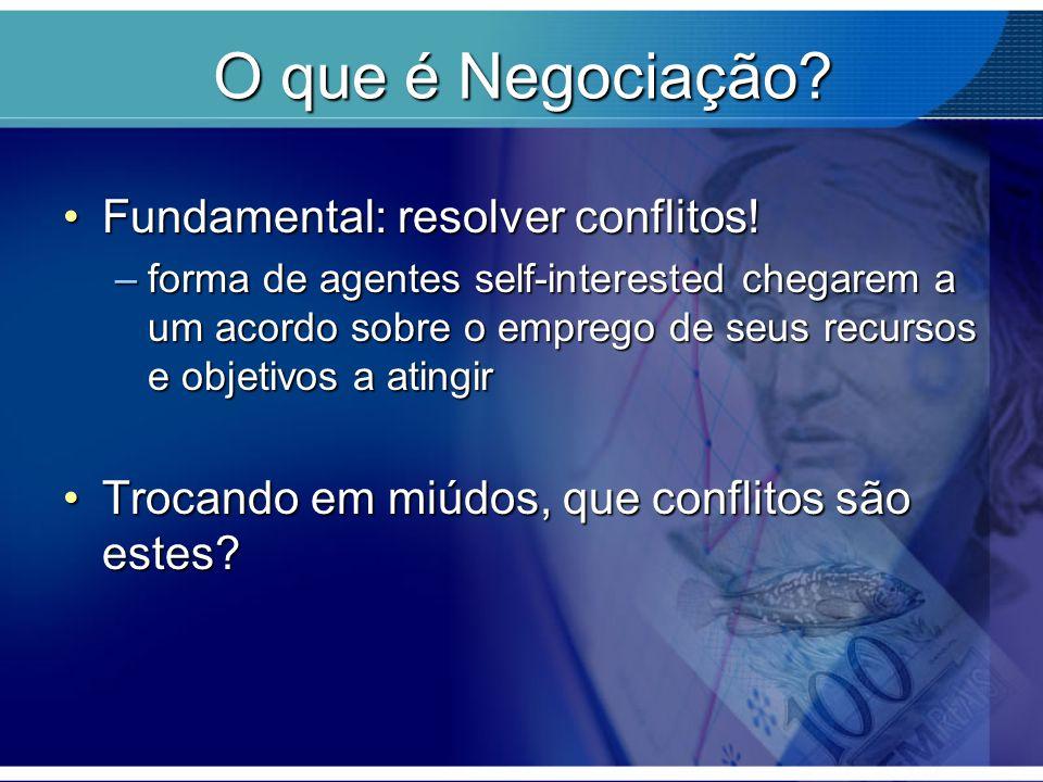 O que é Negociação? Fundamental: resolver conflitos!Fundamental: resolver conflitos! –forma de agentes self-interested chegarem a um acordo sobre o em
