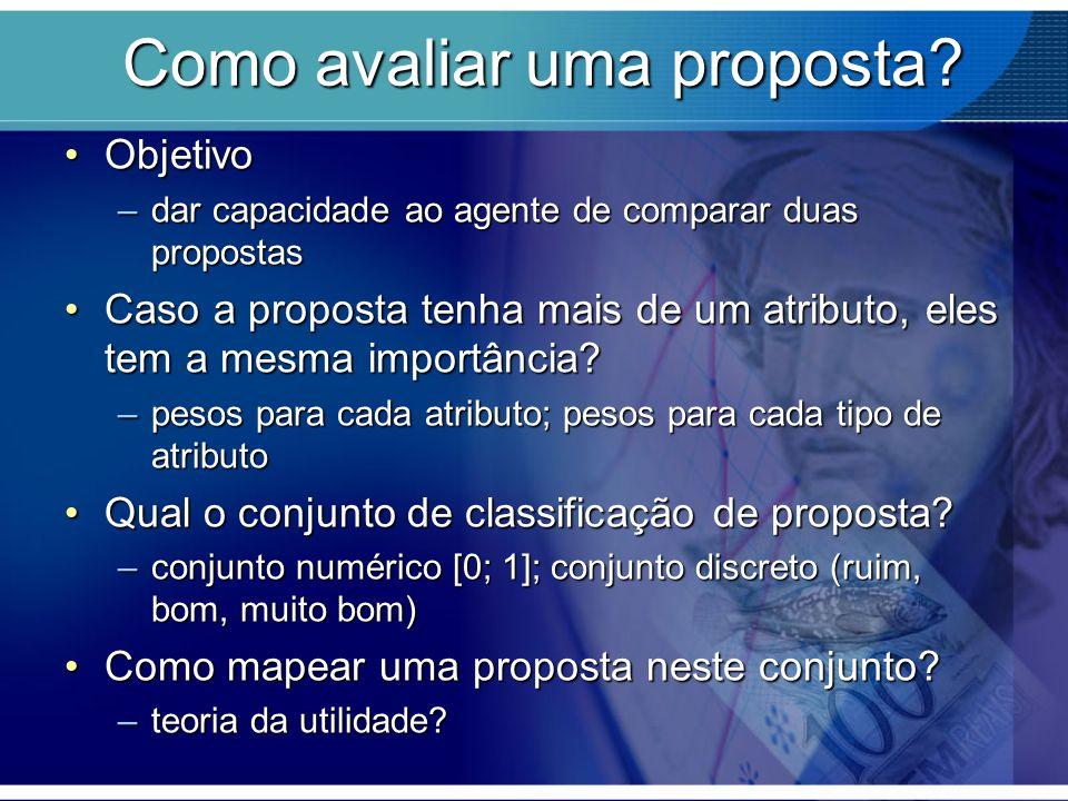 Como avaliar uma proposta? Como avaliar uma proposta? ObjetivoObjetivo –dar capacidade ao agente de comparar duas propostas Caso a proposta tenha mais