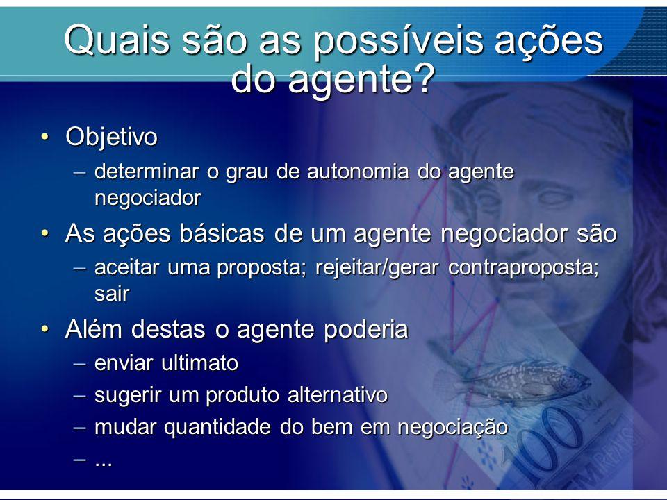 Quais são as possíveis ações do agente? ObjetivoObjetivo –determinar o grau de autonomia do agente negociador As ações básicas de um agente negociador