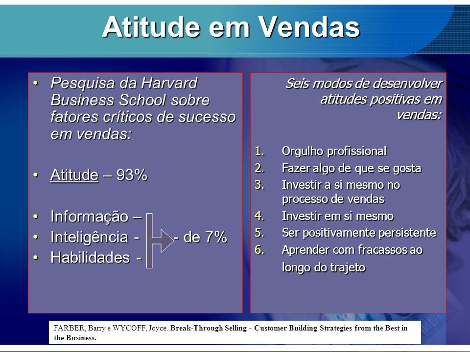 Atitude em Vendas Pesquisa da Harvard Business School sobre fatores críticos de sucesso em vendas:Pesquisa da Harvard Business School sobre fatores cr
