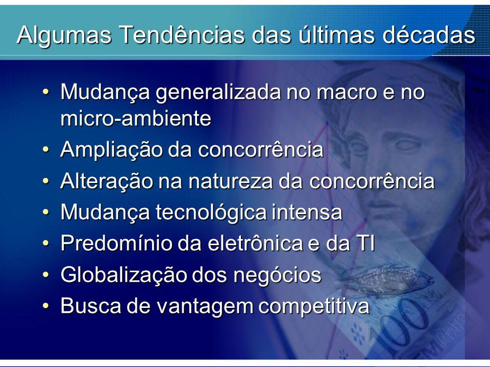 Algumas Tendências das últimas décadas Mudança generalizada no macro e no micro-ambienteMudança generalizada no macro e no micro-ambiente Ampliação da