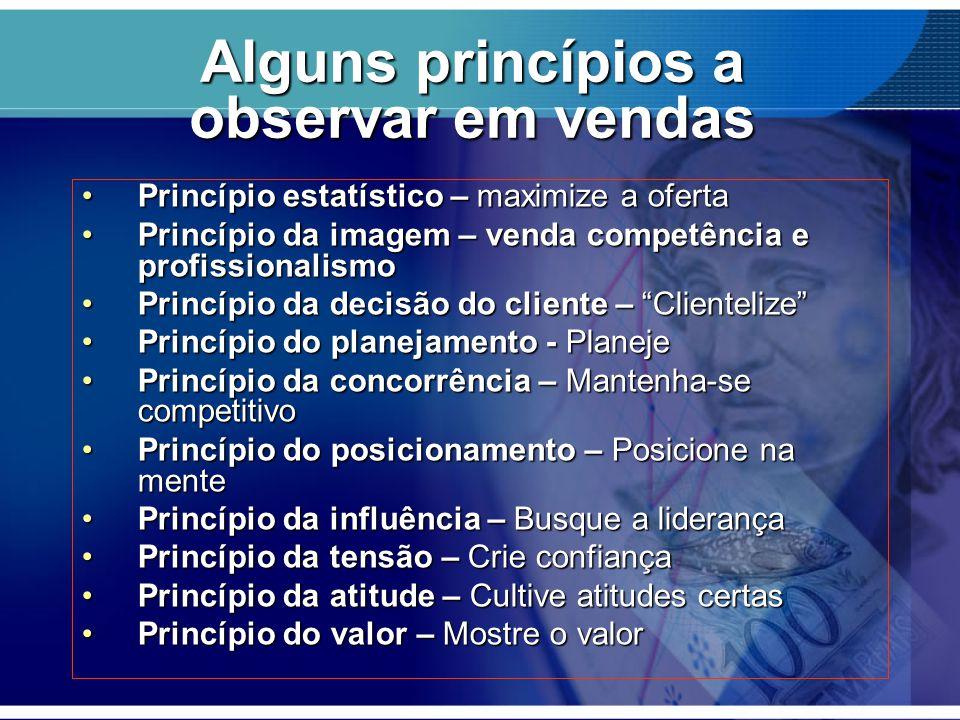 Alguns princípios a observar em vendas Princípio estatístico – maximize a ofertaPrincípio estatístico – maximize a oferta Princípio da imagem – venda