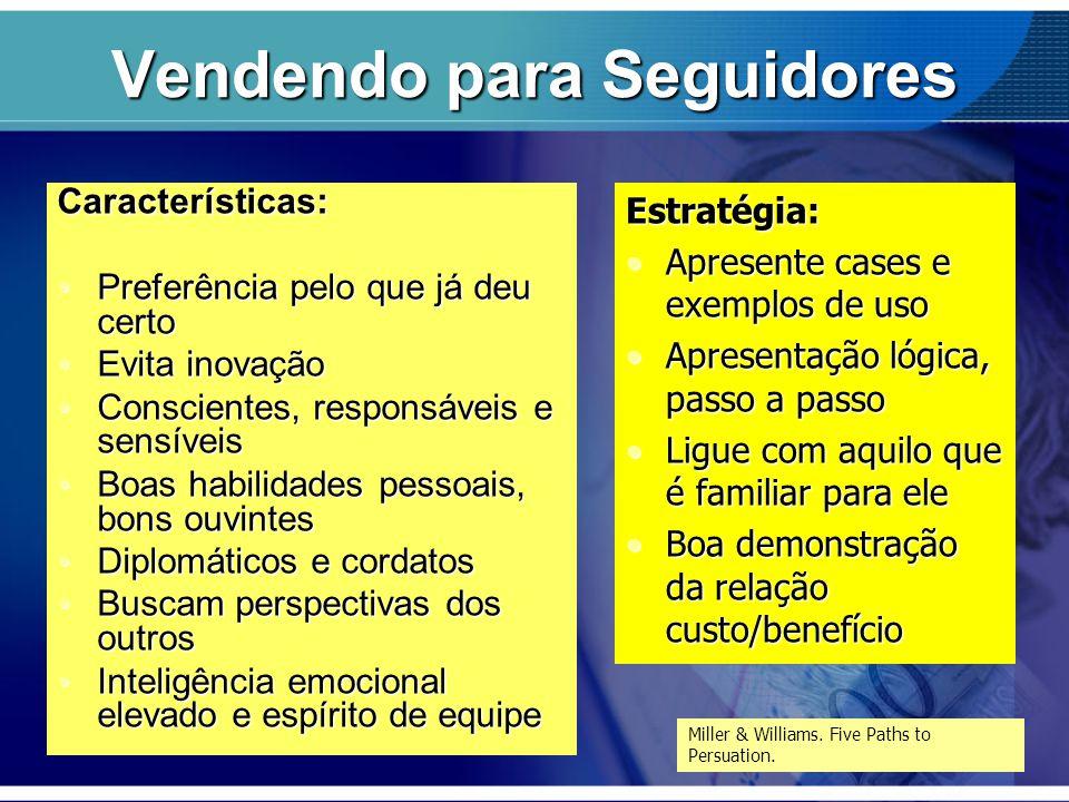 Vendendo para Seguidores Características: Preferência pelo que já deu certoPreferência pelo que já deu certo Evita inovaçãoEvita inovação Conscientes,