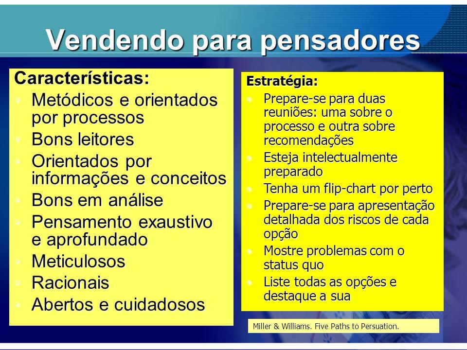 Vendendo para pensadores Características: Metódicos e orientados por processosMetódicos e orientados por processos Bons leitoresBons leitores Orientad
