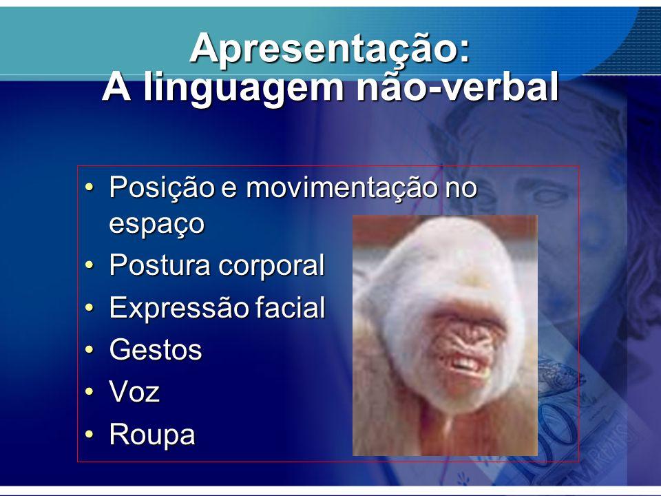 Apresentação: A linguagem não-verbal Posição e movimentação no espaçoPosição e movimentação no espaço Postura corporalPostura corporal Expressão facia