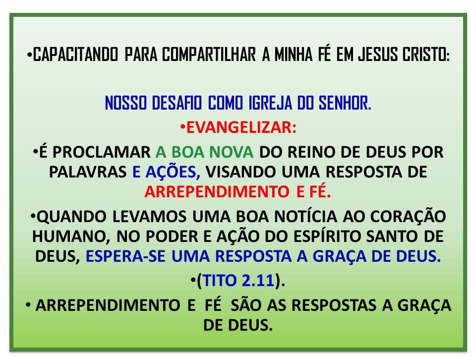 CAPACITANDO PARA COMPARTILHAR A MINHA FÉ EM JESUS CRISTO: NOSSO DESAFIO COMO IGREJA DO SENHOR. EVANGELIZAR: É PROCLAMAR A BOA NOVA DO REINO DE DEUS PO